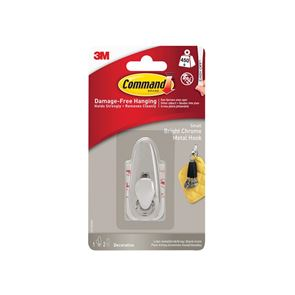 Command™ Small Metal Hook, Bright Chrome Finish