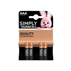 Duracell Simply AAA Alkaline MN2400 Batteries (Pack 4)