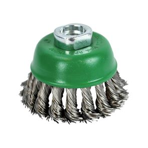 Faithfull Wire Cup Brush Twist Knot 65mm M14x2, 0.50mm Stainless Steel Wire