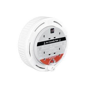 Masterplug Cassette Cable Reel 240V 13A 4-Socket Thermal Cut-Out White 4m