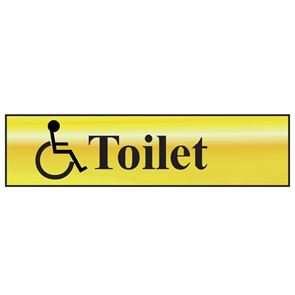 Scan Disabled Toilet - Polished Brass Effect 200 x 50mm